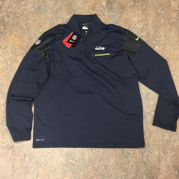 Seattle Seahawks Nike Men s 1 4 Zip Pullover Large f96c478da